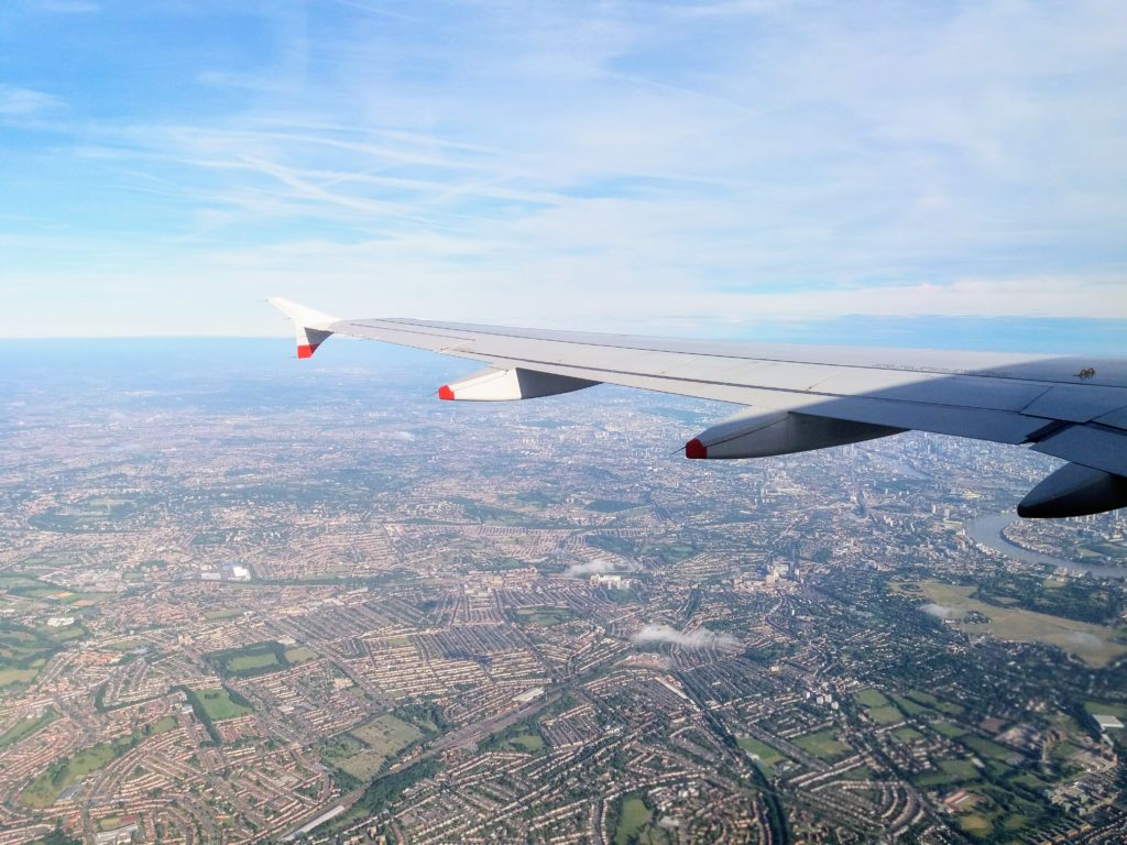 airplane view over london