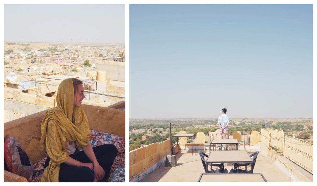 jaisalmer india | rooftop | cafe | scarf | golden city