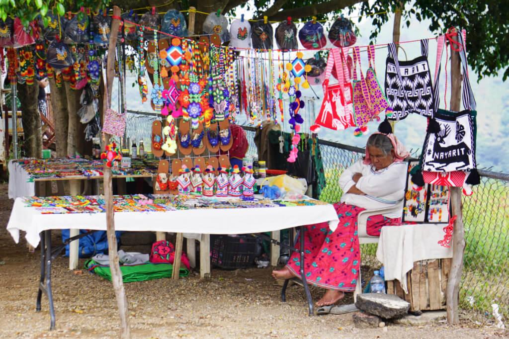 Huichol Nayarit woman selling handicrafts