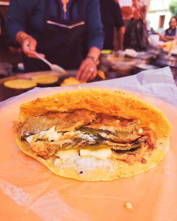 local gorditos at breakfast stand in Guanajuato City