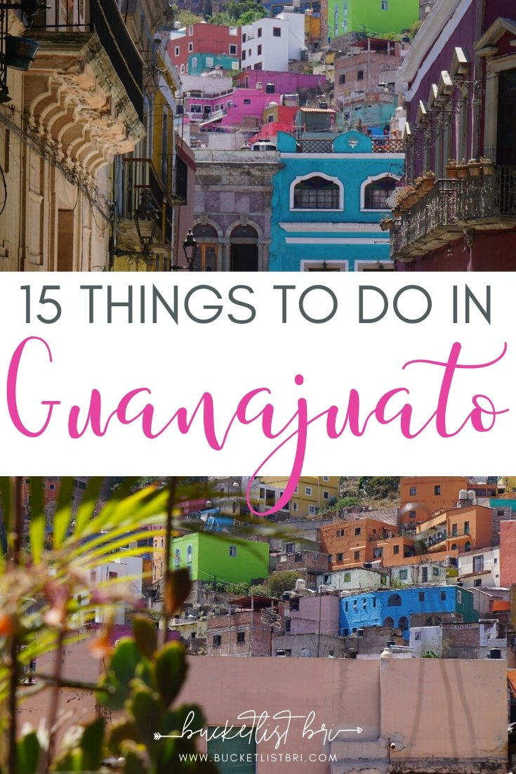 Guanajuato City is a mix between Europe and Mexico. There are so many things to do in Guanajuato City, from just exploring the colorful, winding streets to dining on local taco stands or enjoying a night at a cantina. Here is my guide for the 15 best things to do in Guanajuato City in Mexico. #guanajuato #bucketlist #viajar #mexicotravel #travelmexico | Read the blog: Bucketlist Bri