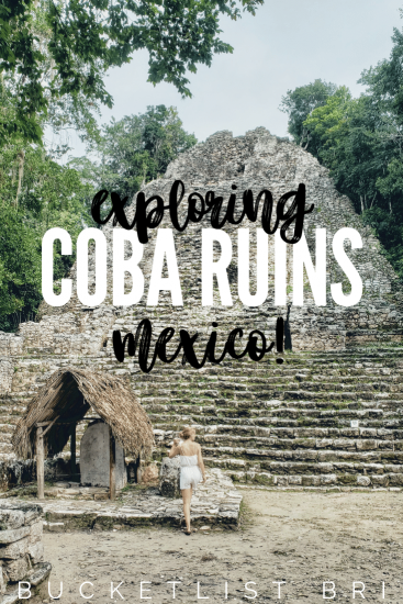 Bucketlist Bri // Coba, Mexico Travel Guide ~ Coba is the curious adventurer's destination! Climb atop ancient Mayan ruins, swim in nearby Coba underground cenotes or relax in a boutique hotel just around the corner. Read the guide on the blog: www.bucketlistbri.com ~ #coba #mayanruins #mexico #adventure