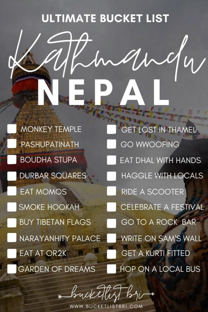 Ultimate Kathmandu Bucket List - 20 Top Things to Do in Kathmandu, Nepal #kathmandu #bucketlist #nepal #travel www.bucketlistbri.com Bucketlist Bri