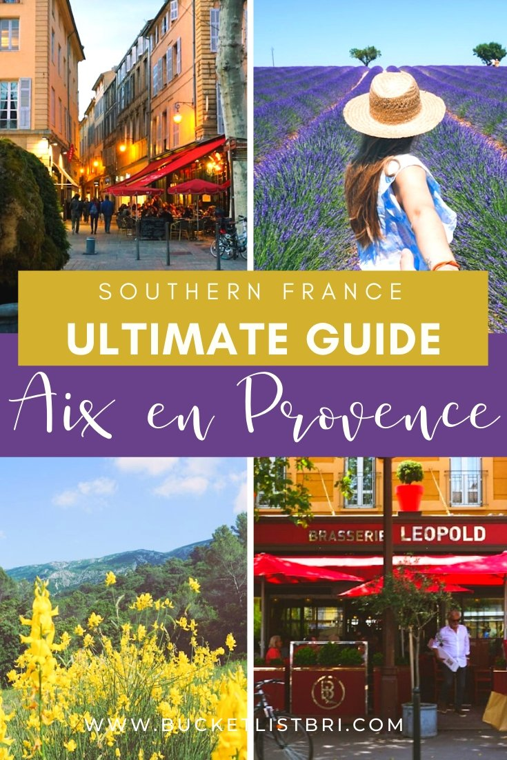 Pinterest pin with images of fields and flowers in Aix en Provence France