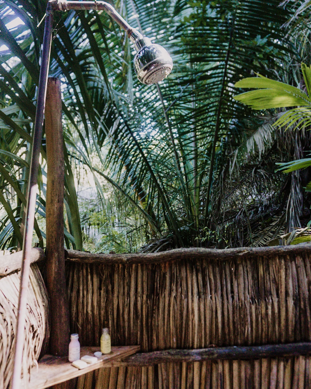 Outdoor shower @ Aldea Bamboo in San Pancho Mexico