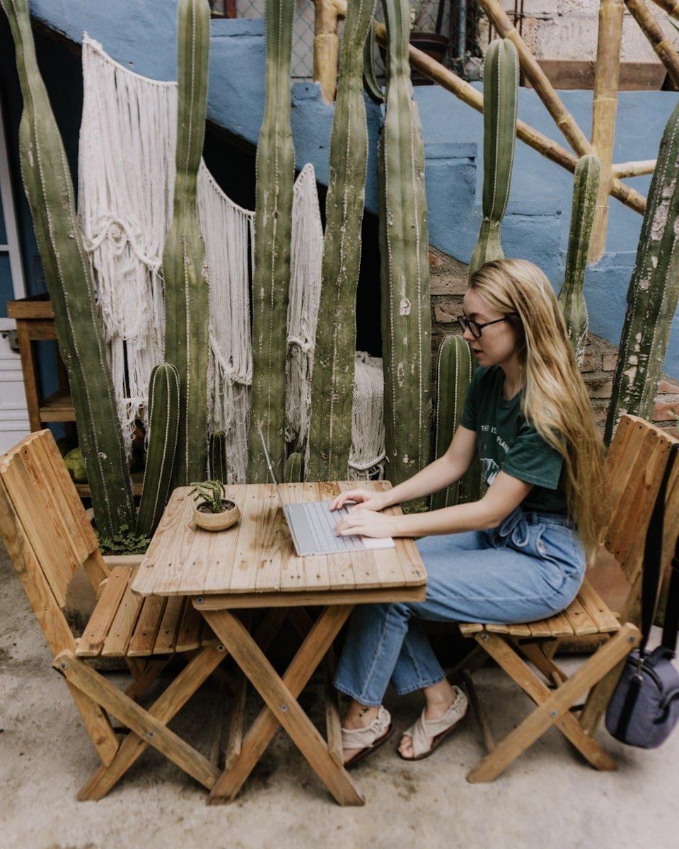 Digital nomad workspace at Miscelanea Cafe in Sayulita, Mexico | Bucketlist Bri