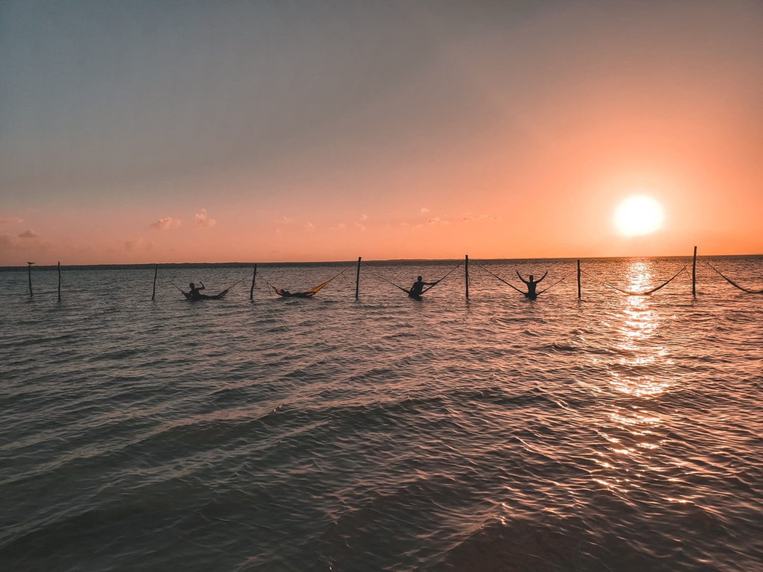 Hammocks in the water at Isla Holbox in the Yucatan Peninsula