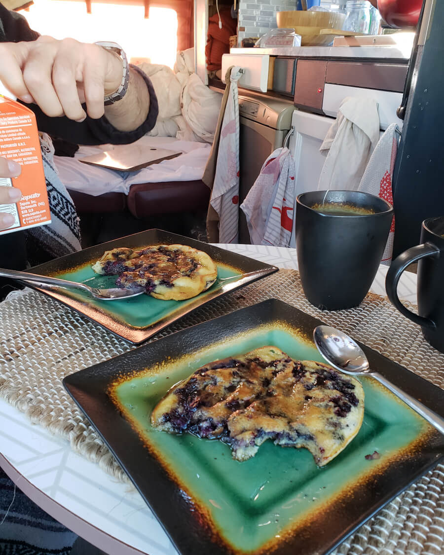 blueberry pancakes and jute placements - eco-friendly van life essentials