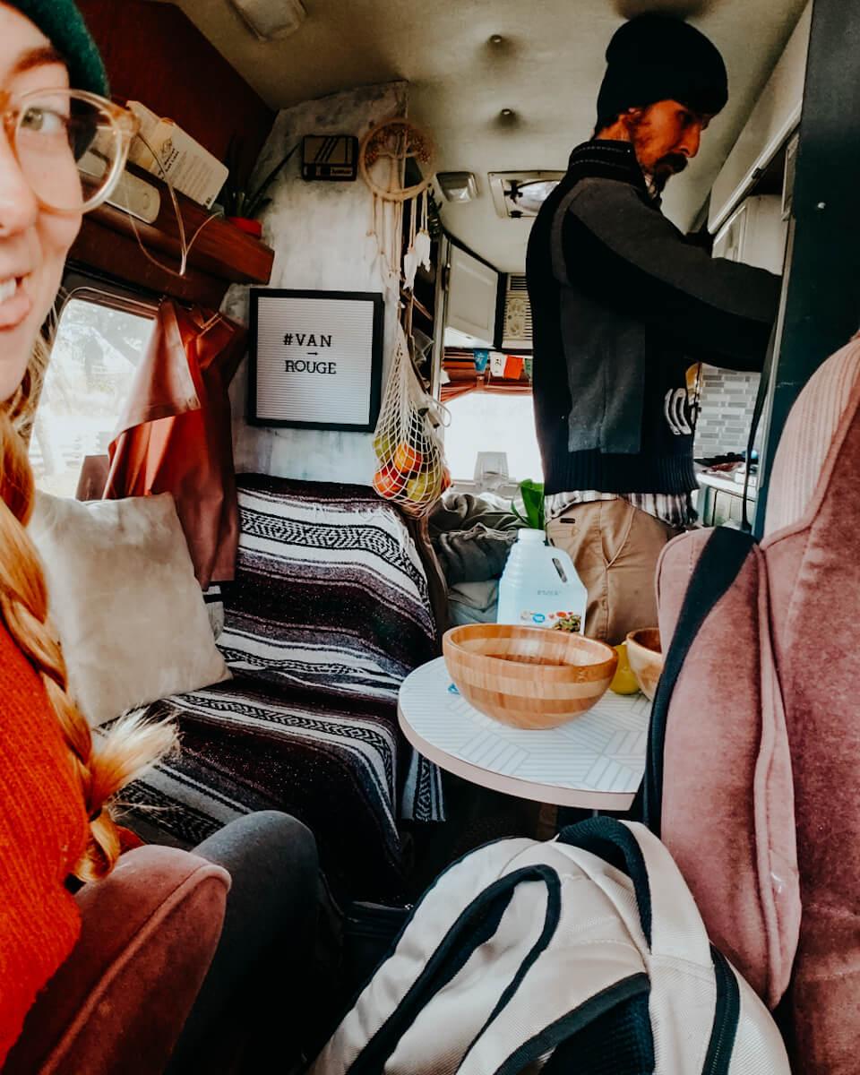 cozy van life interior