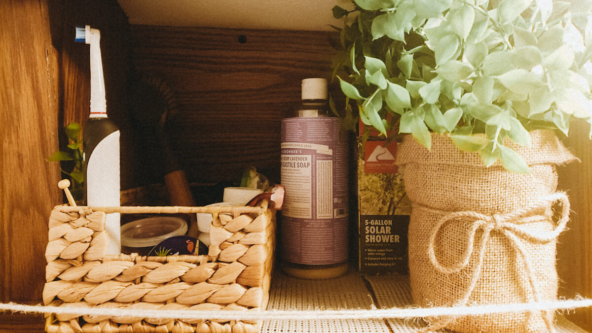 eco-friendly van life essentials -biodegradable soap, baskets, and more!