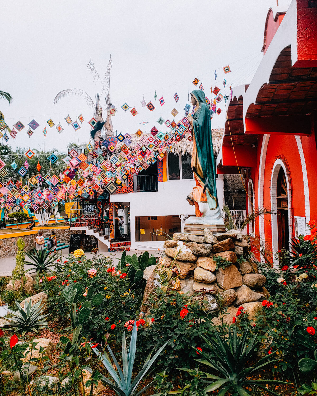 the colorful plaza de sayulita in mexico