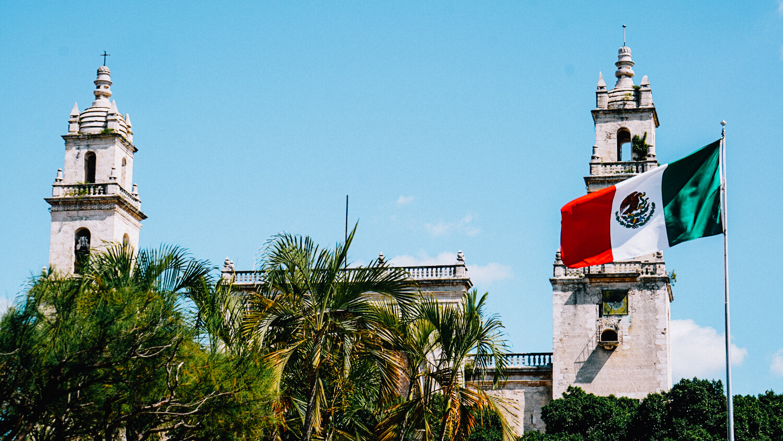merida church in yucatan mexico