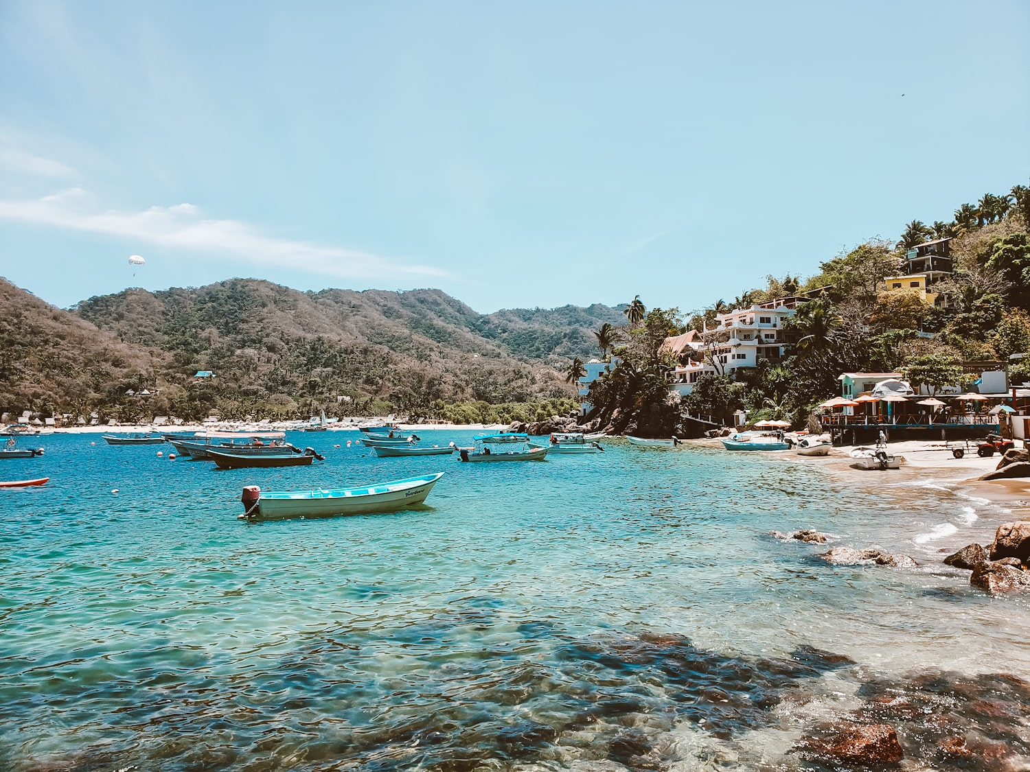 boats floating in the yelapa bay
