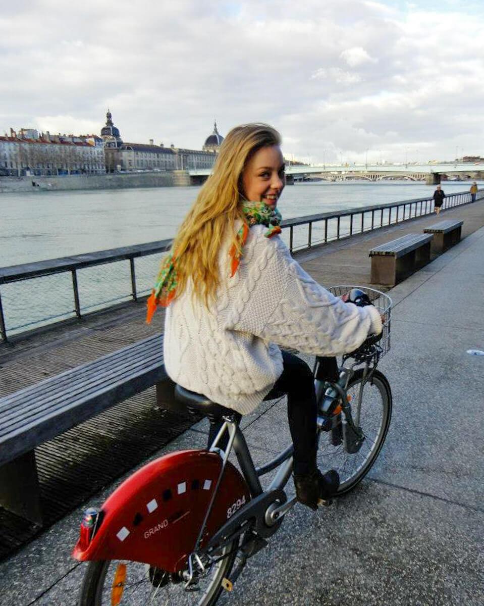 biking along the quai du rhone lyon