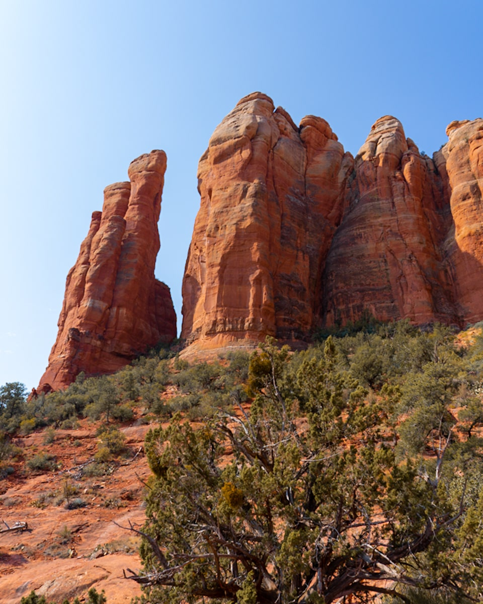 views of cathedral rock from below