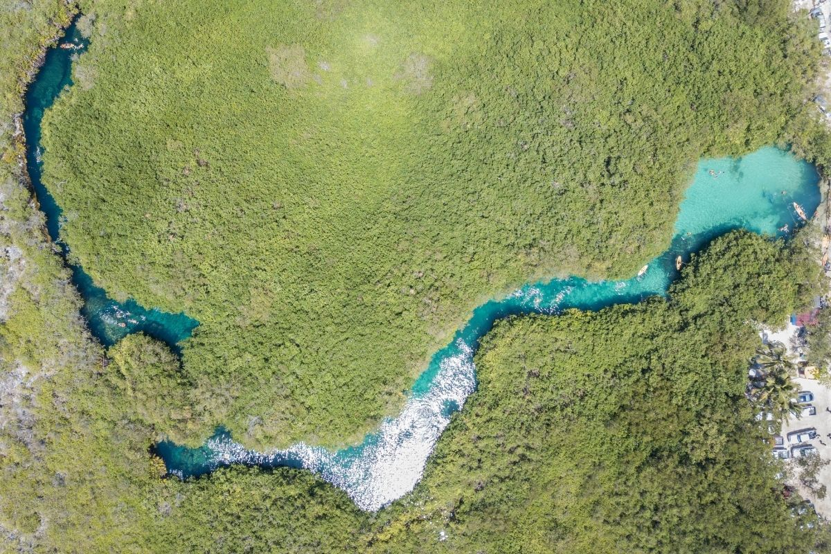 casa cenote aerial view