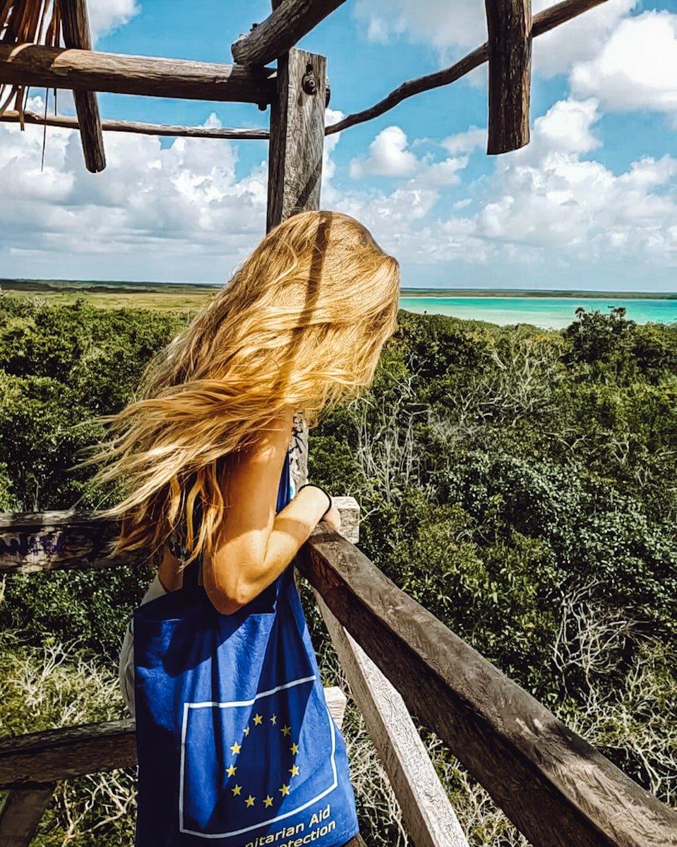 woman overlooking sian ka'an muyil lagoon