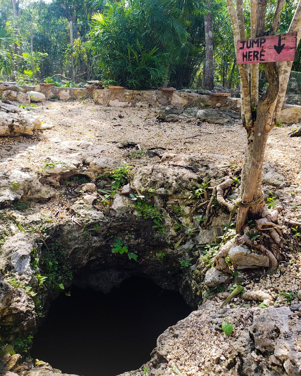 """cenote calavera hole with sign displaying """"jump here"""""""