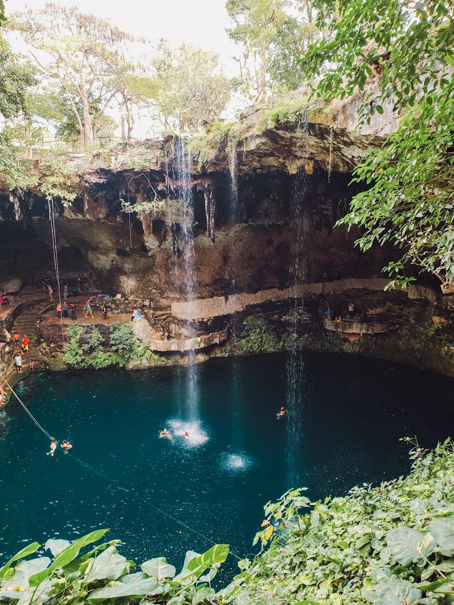 swimmers in cenote zaci