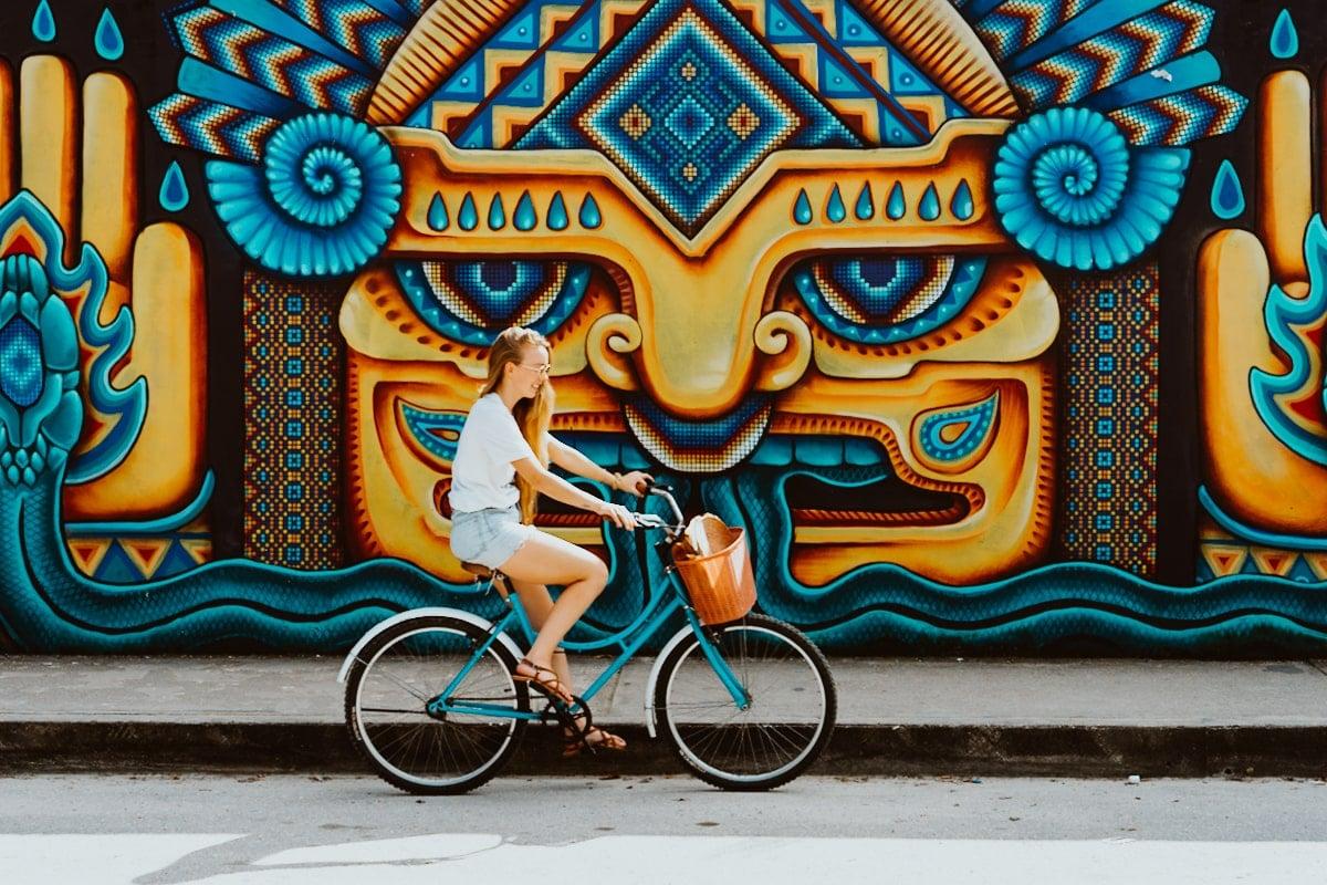 Tlaloc street art mural in Tulum