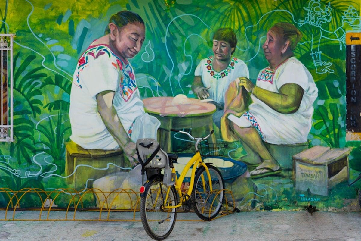 mayan women street art tulum