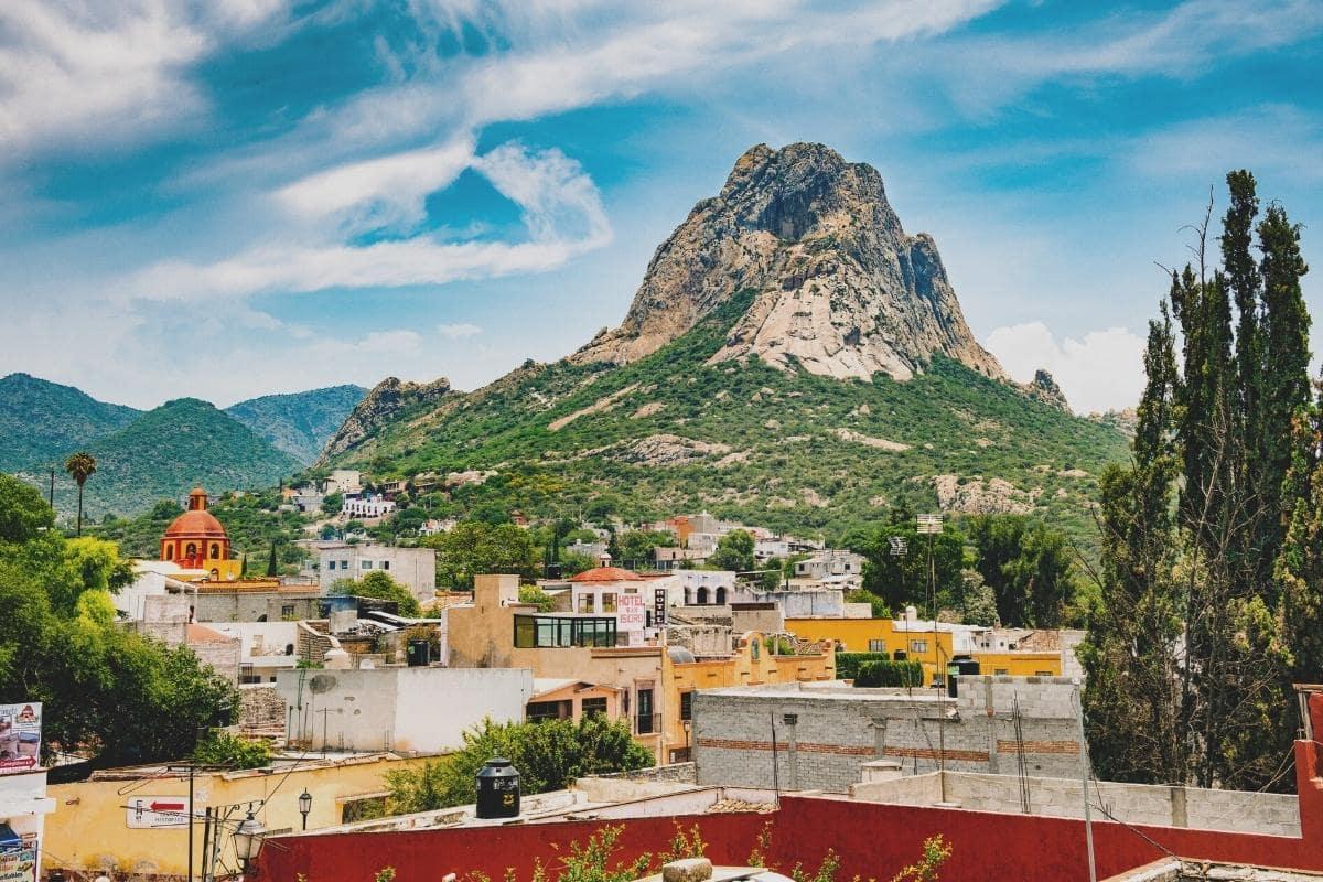 bernal monolith behind pueblo magico bernal in queretaro