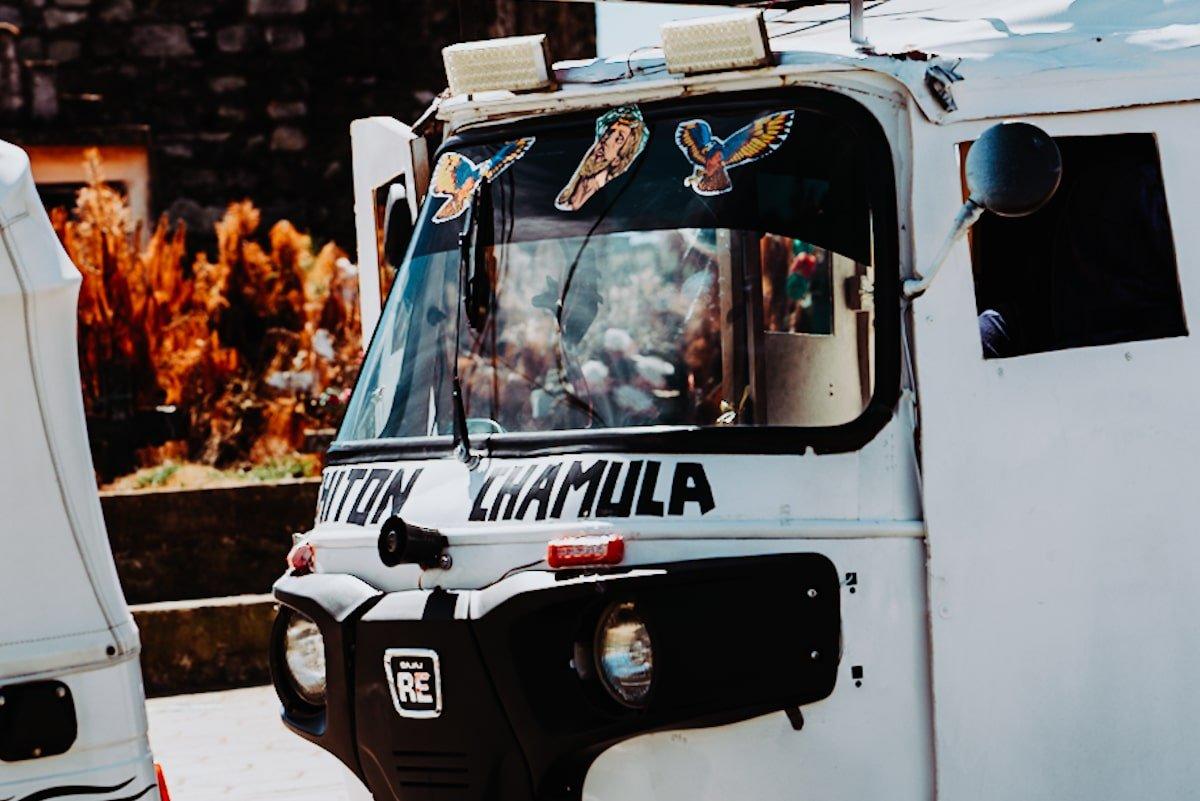 chamula white tuk tuk in chiapas mexico