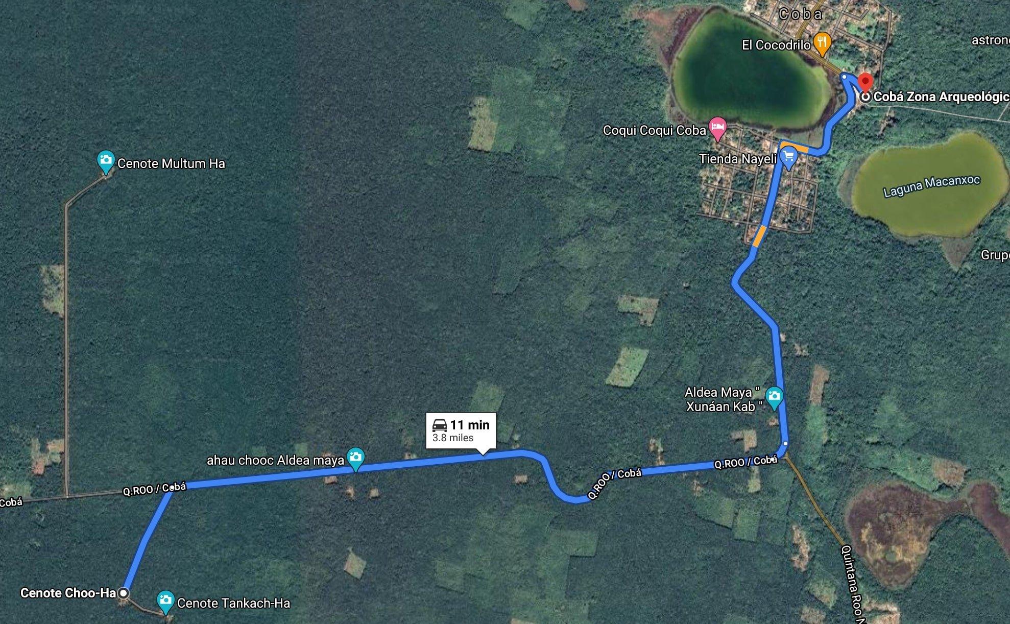 map of coba cenotes from coba ruins