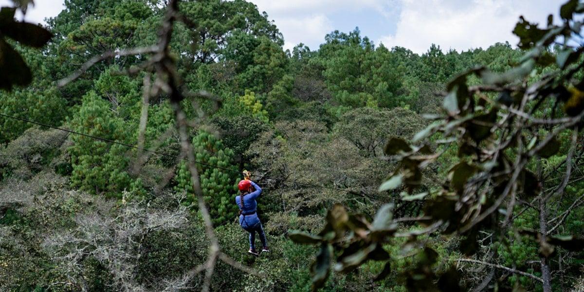 woman ziplining arcotete forest