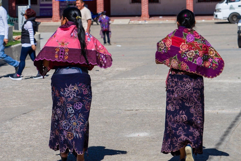 Tzotzil Maya women wearing traditional Zinacantan clothing