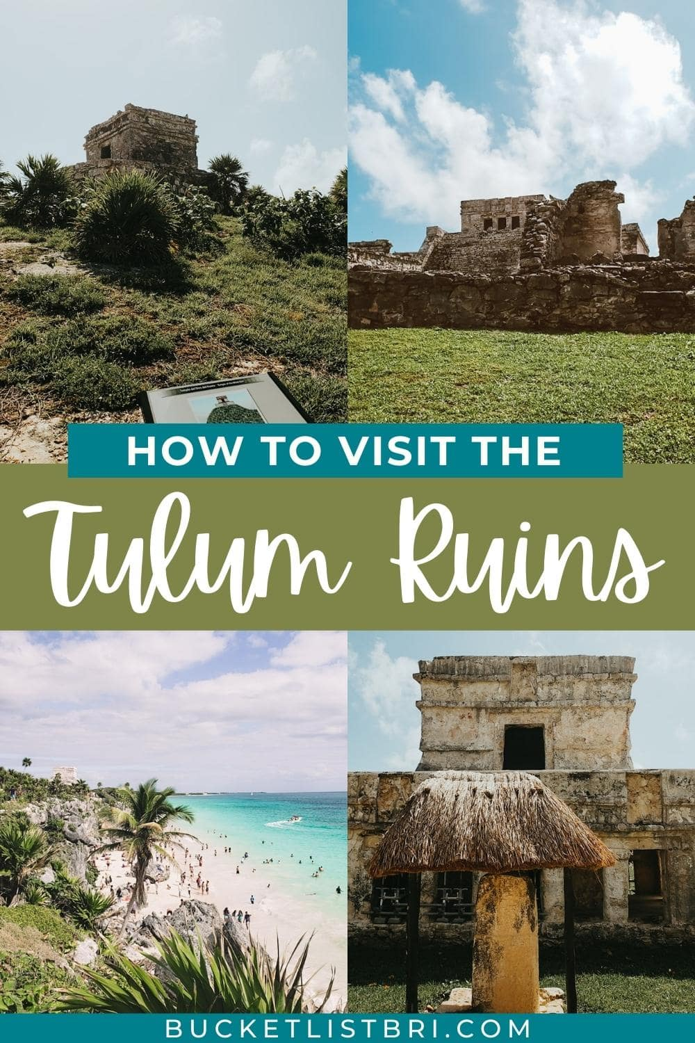 """pinterest image with text """"how to visit the tulum ruins"""""""