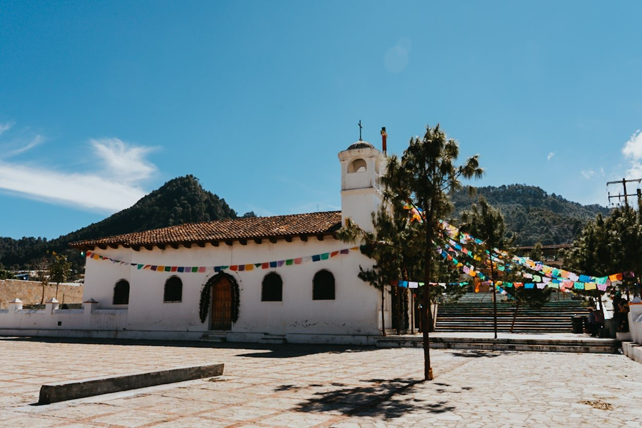 Zinacantan church with moutains in background