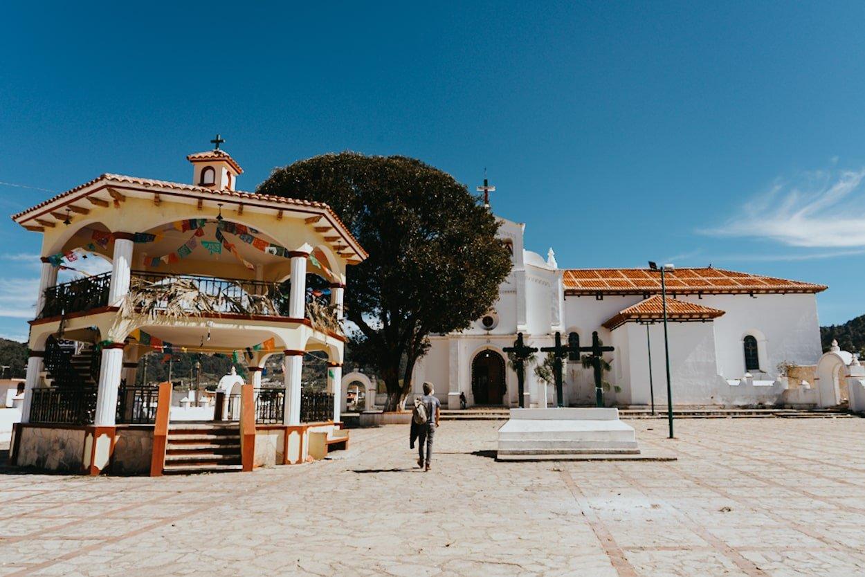 Zinacantan square and San Lorenzo church