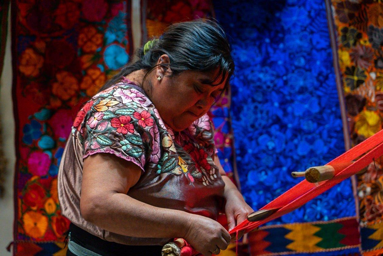 Zinacantan woman weaving