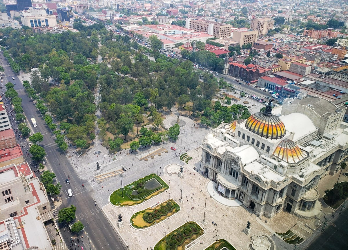 aerial view mexico city sinking church | digital nomad mexico city