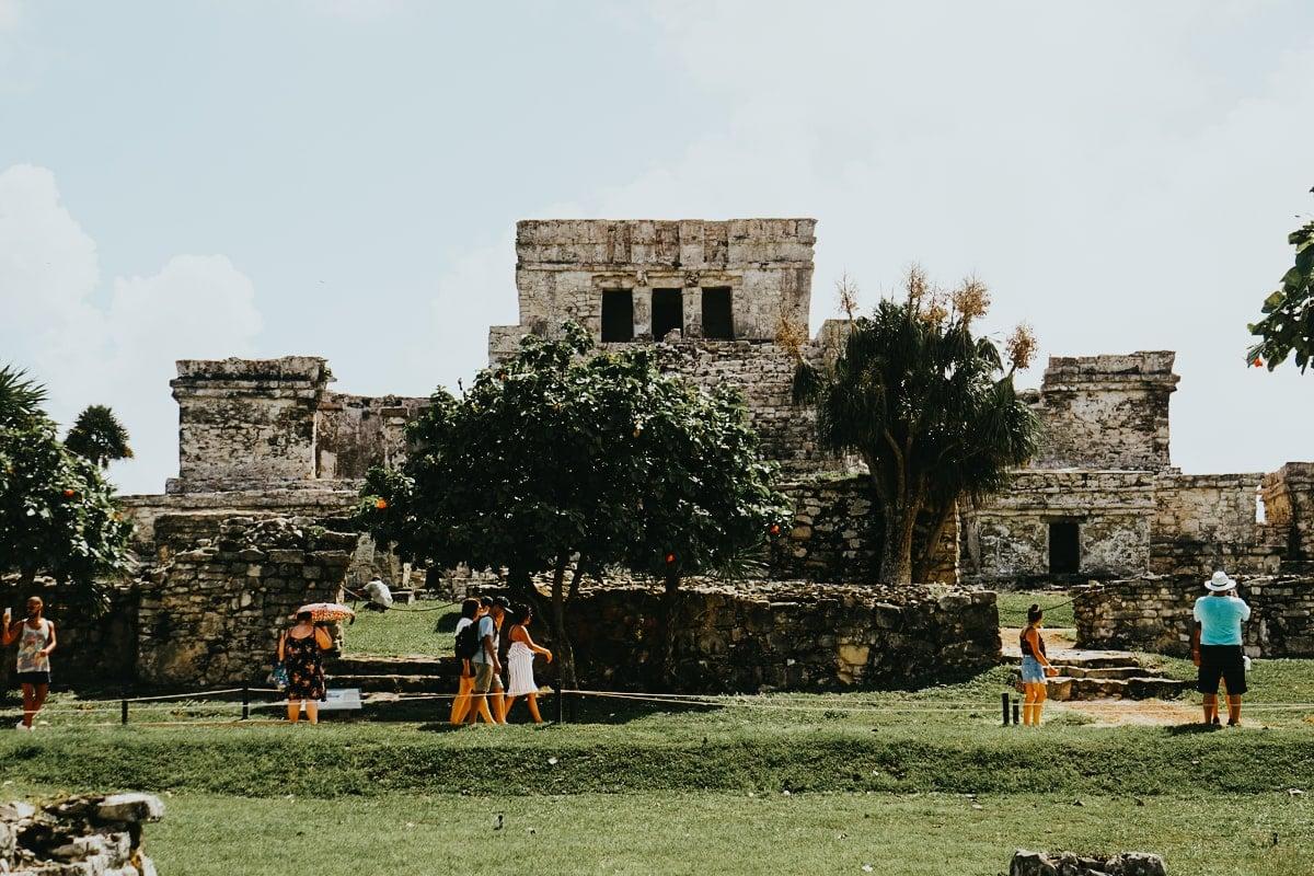 el castillo mayan building inside tulum ruins