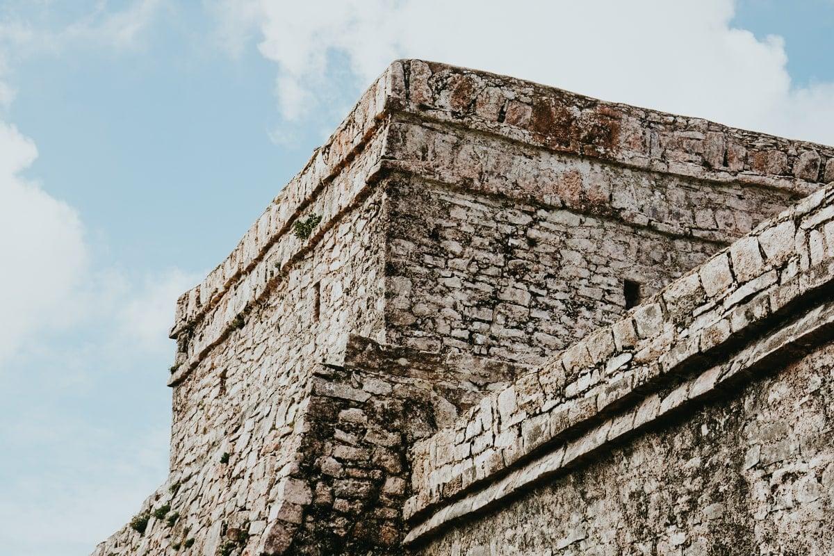 backside of el castillo temple in tulum ruins