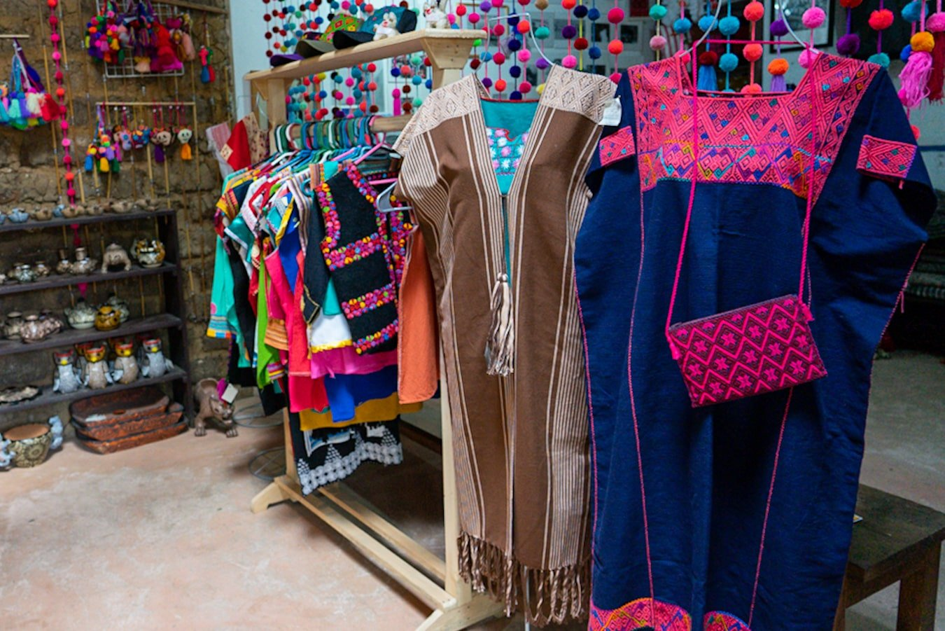 traditiona textiles in na bolom shop made by indigenous communities in chiapas mexico