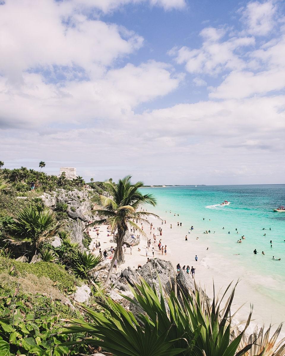 tulum ruins beach and caribbean sea