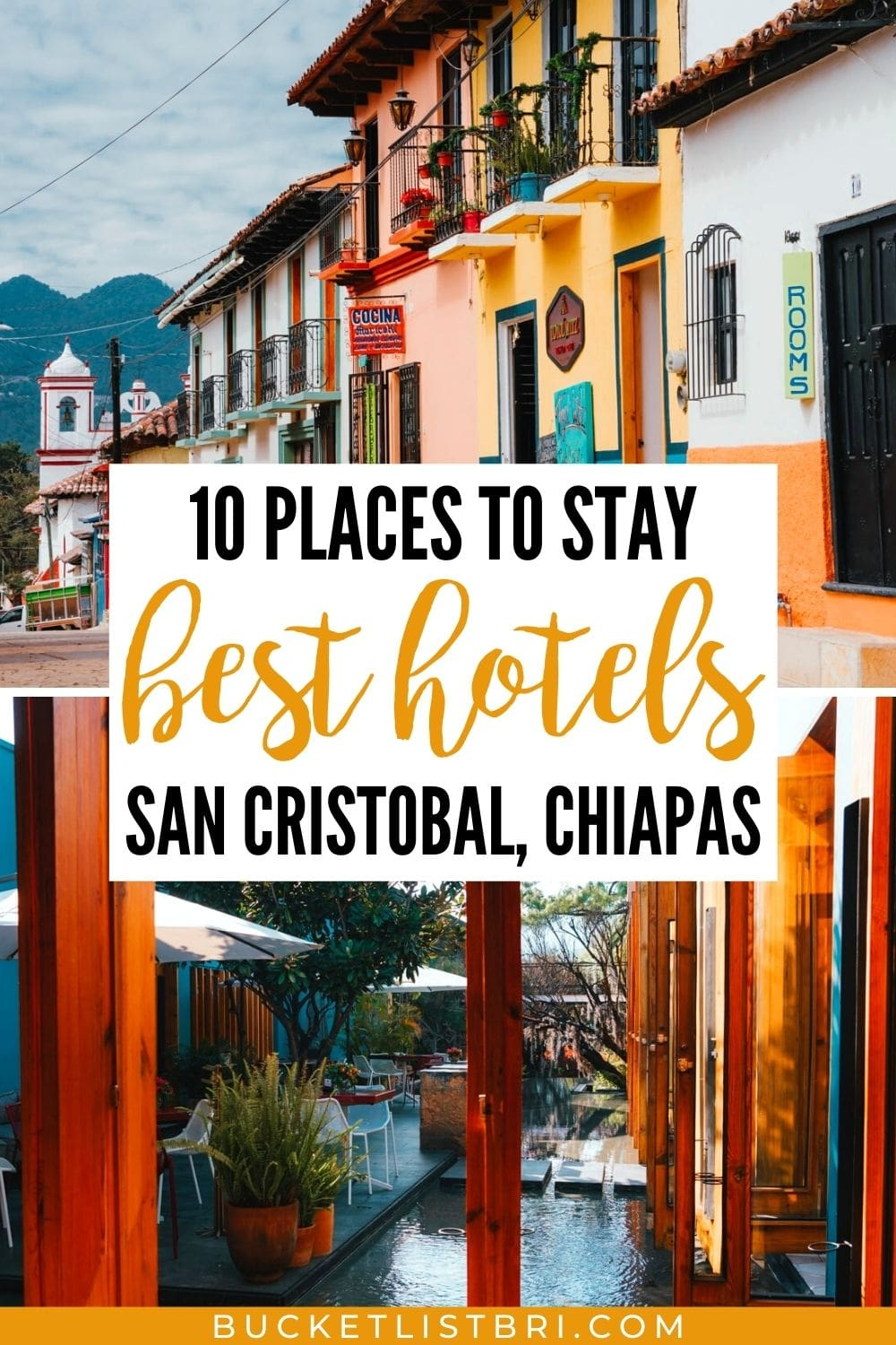 best hotels in san cristobal pinterest pin with text overlay