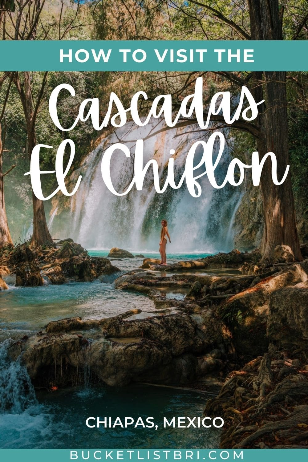 image of the Cascada Ala de Angel inside El Chiflon Waterfalls in Chiapas, Mexico with text overlay