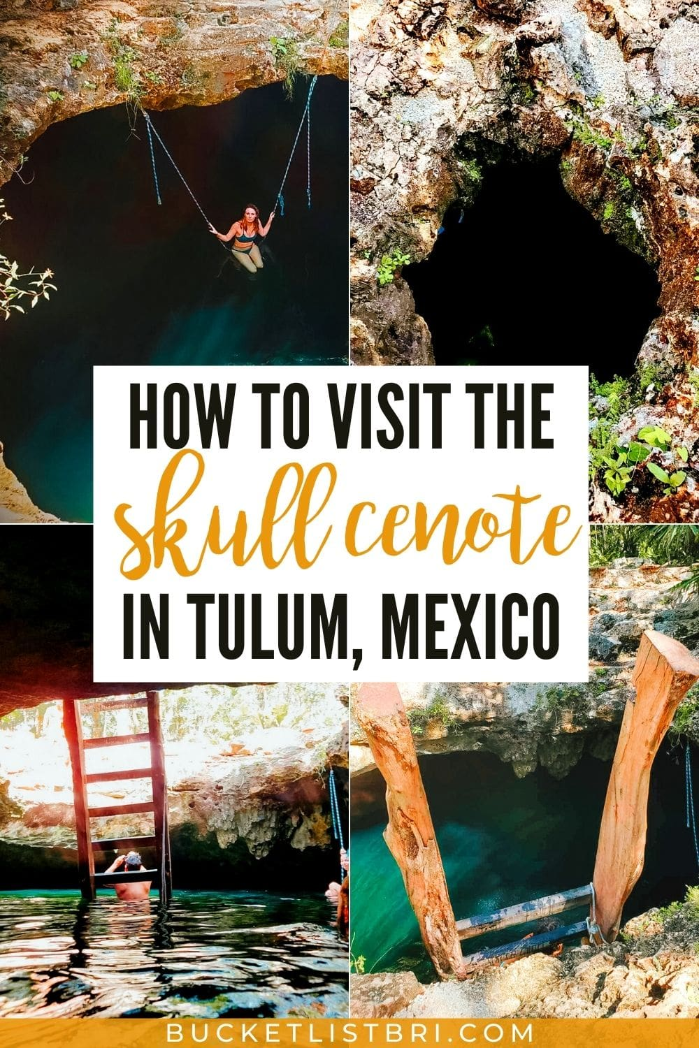 grid images of cenote calavera with text overly how to visit the skull cenote in tulum mexico
