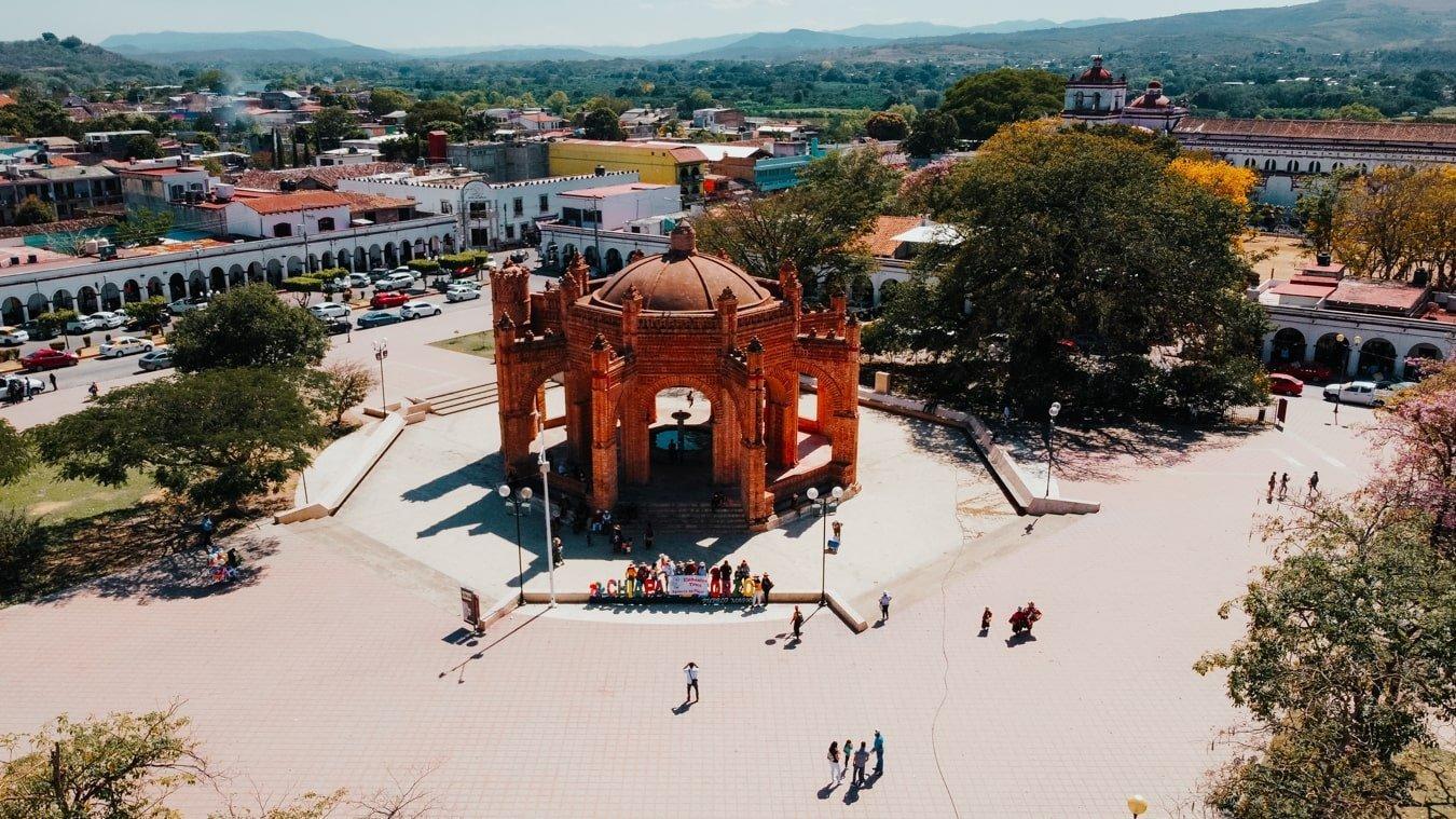 drone view of main plaza in chiapa de corzo, mexico