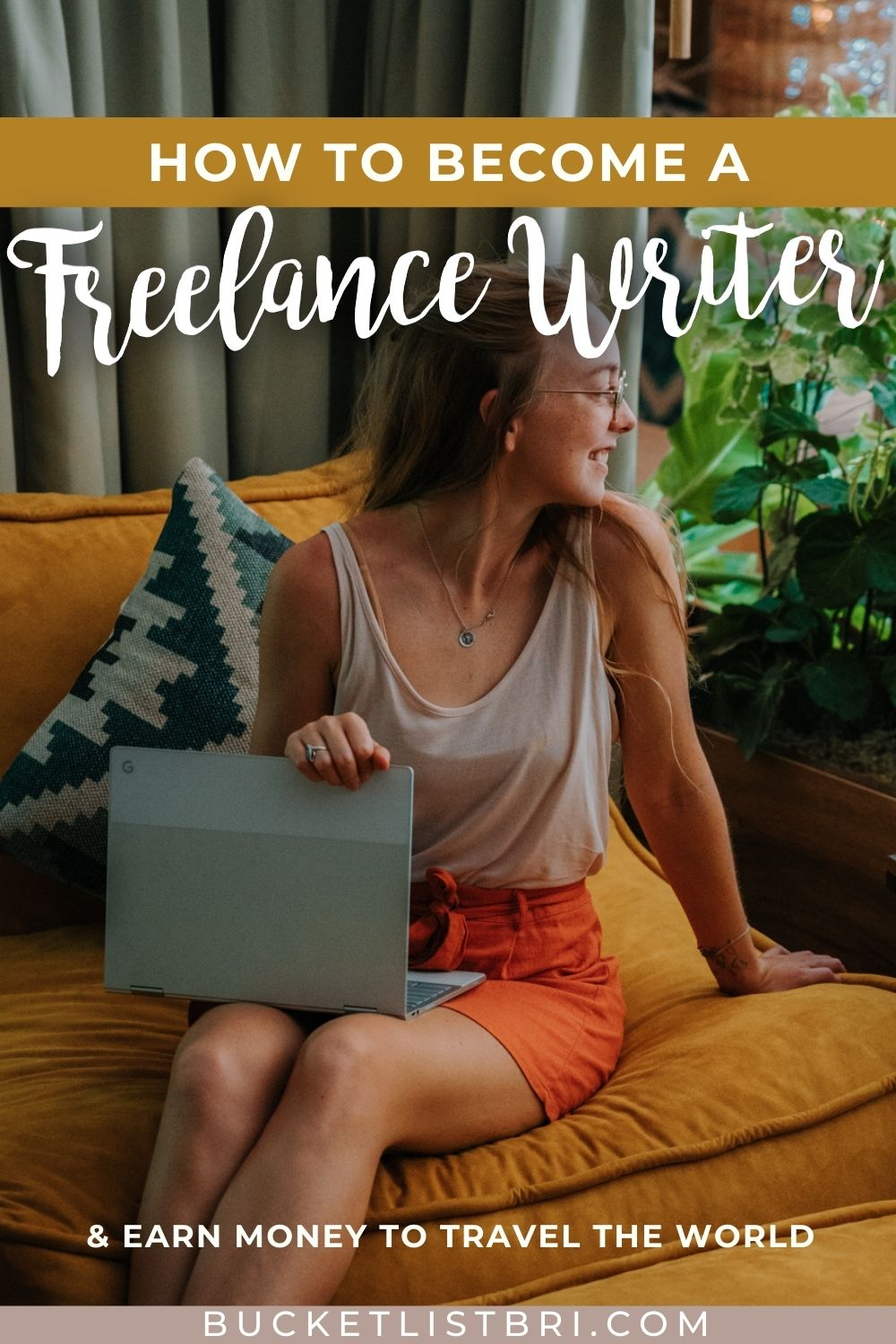 photo of female freelance writer with text overlay