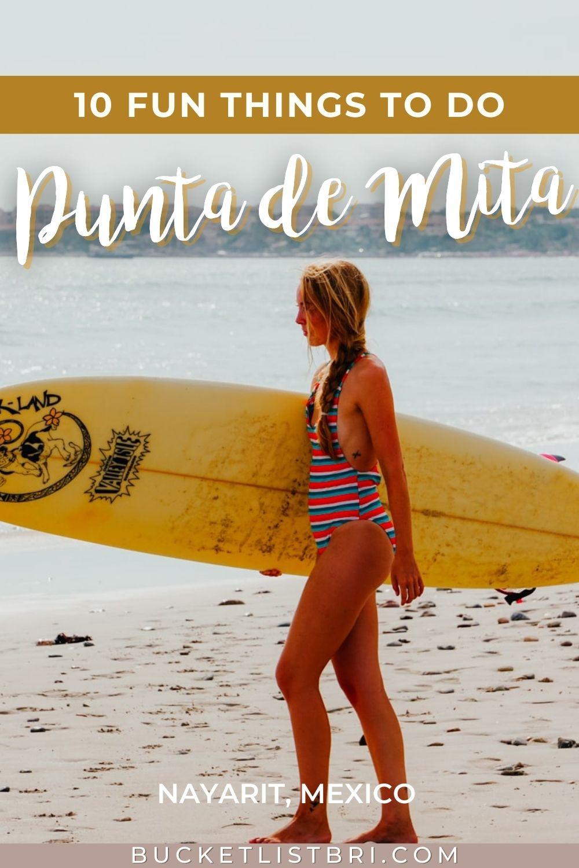photo of surfer girl in playa la lancha punta mita with text overlay