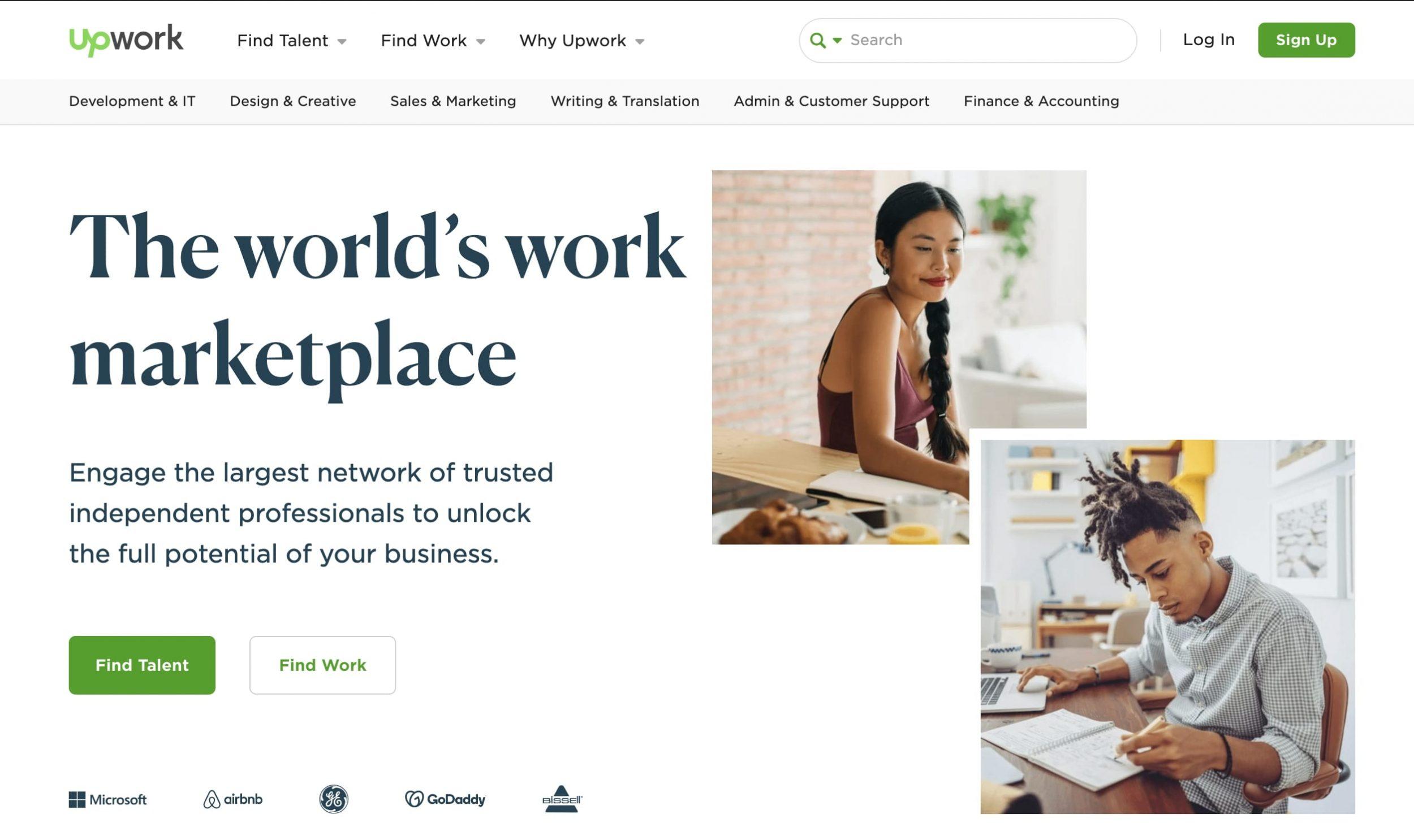 Upwork.com home page screenshot