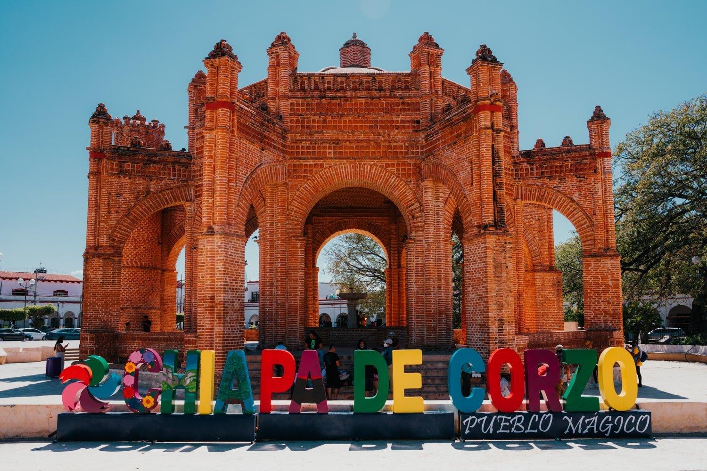 La Pila fountain and colorful sign in Chiapa de Corzo pueblo magico in Chiapas, Mexico