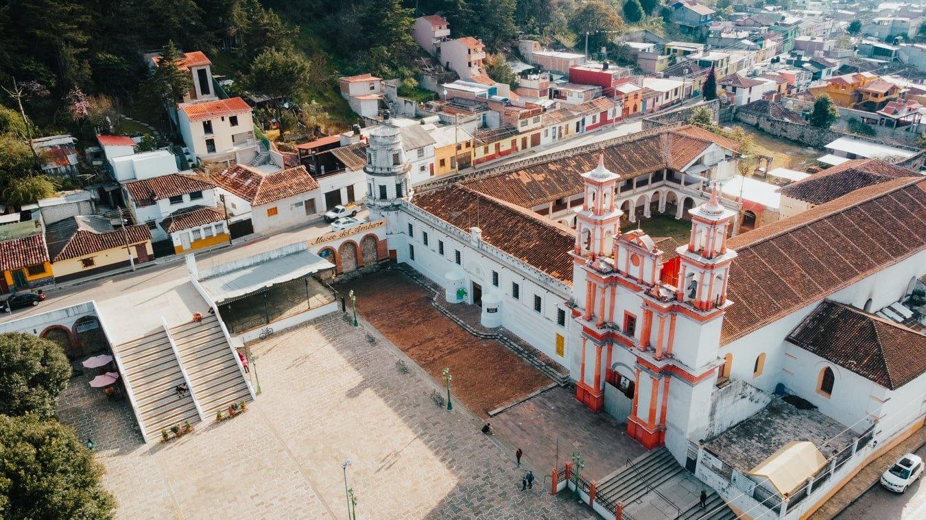 Drone photo of Ex-Covento de La Merced and the Amber Museum in San Cristobal de Las Casas
