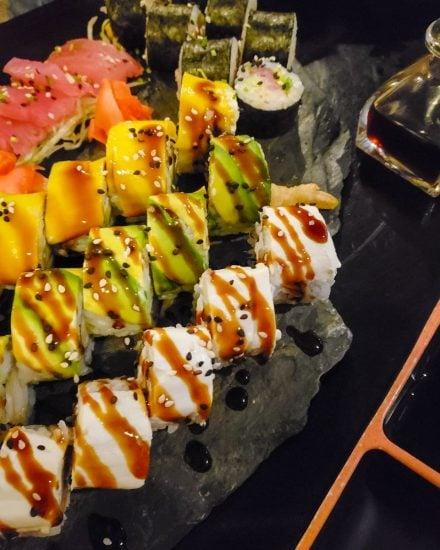 sushi rolls at sushi restaurant in tulum