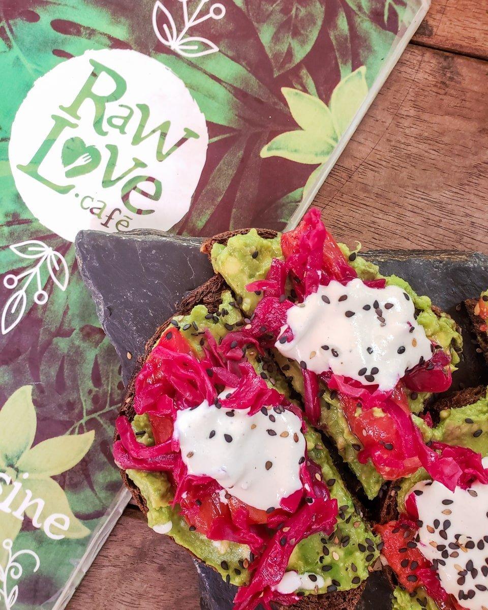 raw love cafe menu with avocado toast